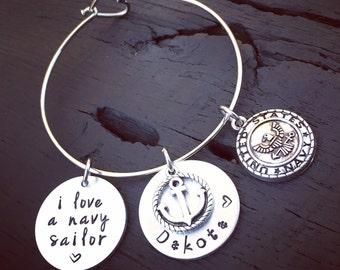 I Love A Navy Sailor - Anchor Bracelet | Navy Wife Bracelet | Navy Wife Jewelry | Navy Girlfriend Bracelet | Navy Mom Bracelet | Navy Gift