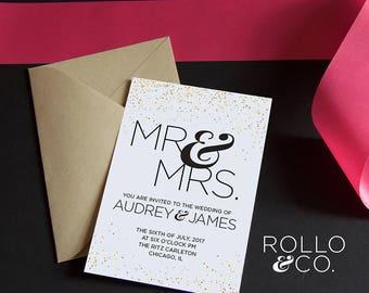 Gold Confetti Wedding Invite