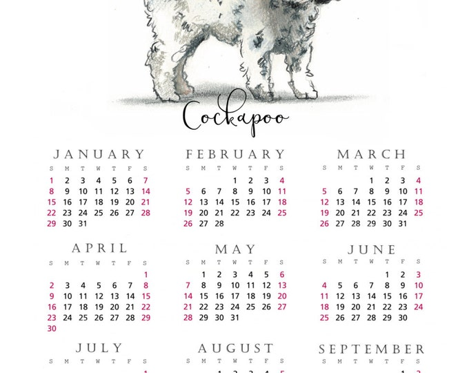 Cockapoo 2017 yearly calendar