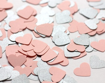 500 Pink and Silver Heart Confetti - Silver and Pink Baby Shower Decorations - Pink and Silver Wedding Decor - Pink Baby Shower