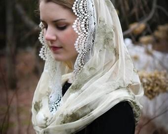 Evintage Veils~   Embroidered  Sage Mist  Lace Chapel Veil Mantilla Infinity Latin Mass