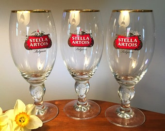 Three large stunning Stella Artois chalices - 20 ounces/40CL capacity