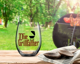 The Grillfather Glass, Godfather Glass, Father Wine Glass, Dad Beer Glass, Dad Wine Glass, Barbeque Master Gift, Barbeque Lover Gift, Chef