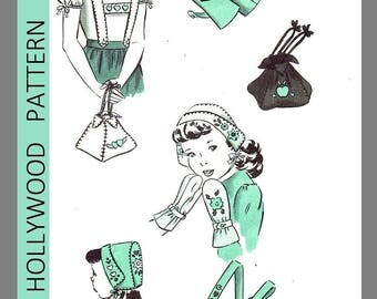 Vintage  Hollywood Pattern Child's Accessory Set Bonnet Fabric Sew Pattern Sz L#1689