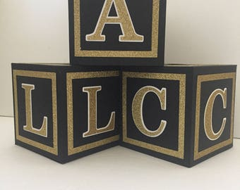 Glitter Borders--Large(4.5 in) Custom  Alphabet Blocks, Baby Shower Decorations