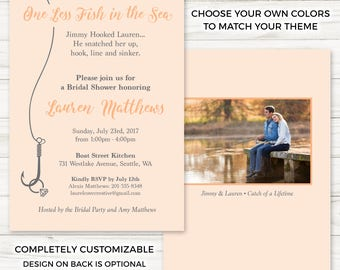 One Less Fish in the Sea Bridal Shower Invitation - Choose Your Own Colors - Personalized - Optional Back Design - Printed Cards & Envelopes
