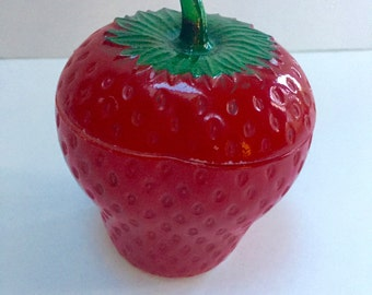 VINTAGE milk glass painted strawberry
