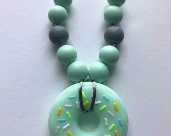 Chompy Kids Donut Necklace- Mint