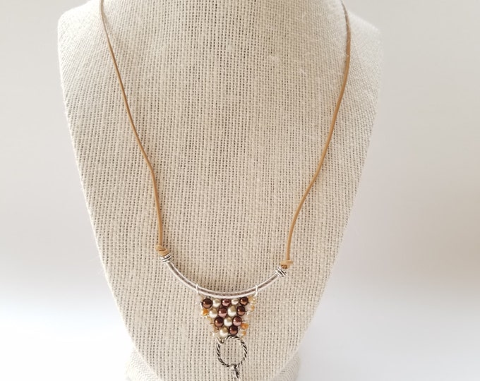 Brown leather necklace, leather jewelry wire wrapping pendant long brown leather necklace brown pearl leather necklace