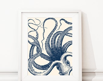 Octopus Art - Octopus Print - Nautical Decor - Nautical Nursery - Kraken Art - Kraken Print - Nautical bathroom - Ivory Navy (S-479)