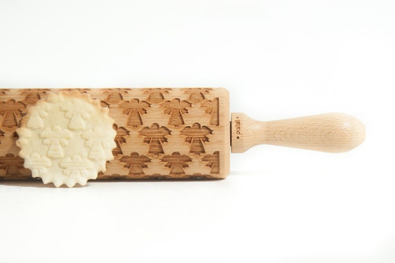 CHRISTMAS PATTERN *** ANGELS *** Embossing rolling pin, laser engraved rolling pin with vintage knitted pattern