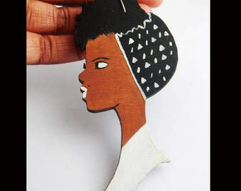 Black Art Earrings African American Jewelry Natural Hair Ethnic Hand Painted White Black Art Wooden Black Woman Afrocentric Black Owned