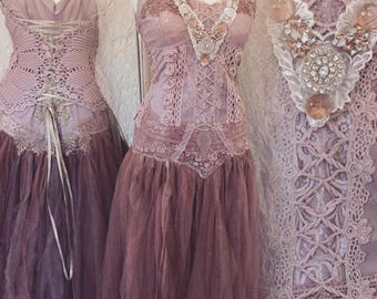 Boho wedding dress rose,bridal gown rose,beach wedding dress rose,open back wedding dress,boho wedding blush,rustic wedding dress, tattered