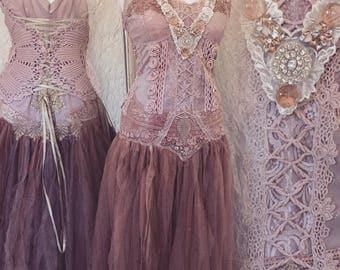 Boho wedding dress rose,bridal gown rose,beach wedding dress rose,open back wedding dress,boho wedding blush,rustic wedding dress, tattered
