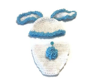 Baby Crochet Bunny Outfit, Hat and Diaper Cover Set, Fuzzy Rabbit Ears, New Born Photo Props