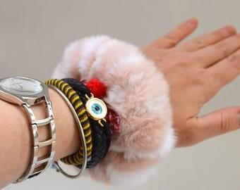 Real fur scrunchies, pink-white fur fox elastics, real fur bracelet, real fur hair scrunchies, fur bangle, real fox fur fashion bangle.