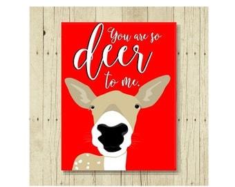 Love Magnet, Funny Magent, You Are Deer, Refrigerator Magnet, Deer Puns, Deer Art, Gifts Under 10, Small Gift, Valentine Gifts