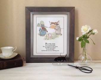 Nursery Rhyme Art Print - Hey Diddle Diddle, the Cat and the Fiddle Quote - Custom Art Print - Baby Shower Decor - Frame not included
