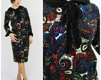 Vintage 60's Designer NORMAN WIATT California Red Blue Soft Plush Velvet Paisley Dress Peter Pan Collar & Ascot Bow Tie Sheath Dress