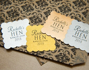 "Cream, Gold Pearlised 1.5 inch Square Shiny Stickers, Envelope Seals. Custom Gold Stickers. 1.5"" Hen Party stickers, Hen Night party Bags"