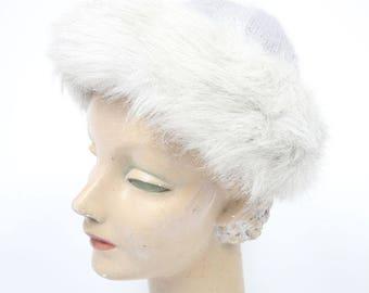 1960's Grey Knit Fur Angora & Wool Cap