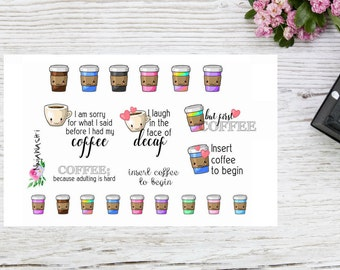 Coffee and quotes kawaii coffe planner stickers, coffee plannerstickers