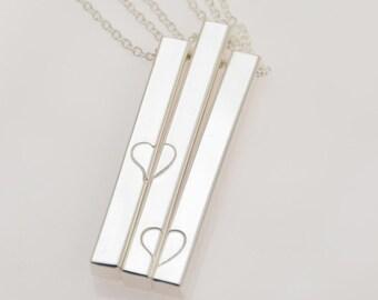 Mother daughter bar necklace set. Mother and one daughter bar necklace set. Mother and two daughters bar necklace set