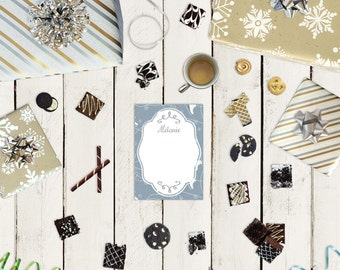 Winter Personalized Notepad - Skating Snowflakes - Personalized Notepads - 25 to 75 pages