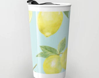 Lemons Travel Mug - Coffee Mug - Citrus Travel Mug - Gift For Women - Aldari Home