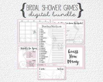Pink Gray/Grey Bride Bridal Shower 7 Games Bundle; Guess How Many; How Well Do You Know The Bride; Bingo; What's In Your Purse; Scramble