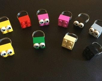 15 Lego Brick Ring, Lego theme party favors