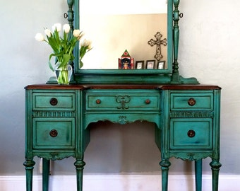 SAMPLE PIECE ONLY - Antique Make-up Vanity with Mirror (Teal)