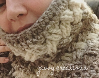 IN STOCK -- Fluffy Celtic Weave Cowl