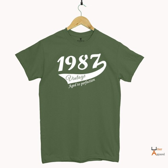Turning 30 gift for husband, Military Green Round Crew Neck T Shirt 1987 Vintage Print Sizes S-2XL Other colors available