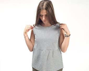 Women top , striped top , women tshirt , cotton shirt , sleeveless top