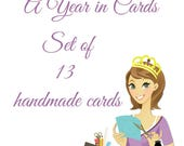 A Year of Card - Set of 13 Handmade Cards - Set of Hand Stamped Cards - Holiday and Birthday Cards - Year Round Card Set