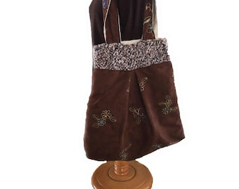 Faux Suede Large Tote in Brown with Machine-embroidered Flowers---FREE SHIPPING!