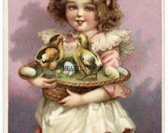 Vintage Easter Postcard Victorian Girl and Chicks Digital Image Download Printable Easter Basket