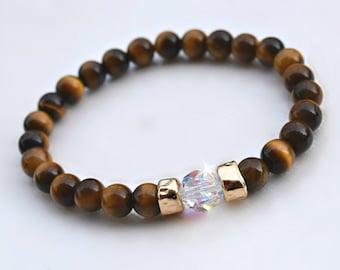 Tiger Eye Gemstone And Swarovski Crystal Stretch Bracelet/Healing/Natural Gemstone/Chakra