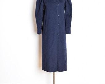 vintage 80s coat, navy wool coat, 80s jacket, navy blue wool, victorian coat, puffed sleeves, puff sleeve coat, 1980s 80s clothing, M medium
