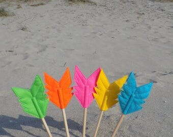 Set of Five Felt Arrow SUNDANCE Pencil Toppers, Vegan