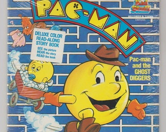 1983 Pac-Man and the Ghost Diggers Read-Along Story Book and 45 RPM Record, DBR205. Factory Sealed. Kid Stuff Records and Tapes