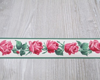 2 Rolls Vintage Red Pink Rose Wallpaper Border Lot Unusual 1940s Early 50s Wallpaper Borders Roses Antique Floral Garden American Beauty Old