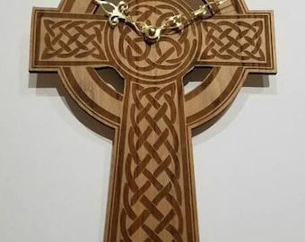 Cross, cross  clock, cross wall clock, wood wall clock, wall clock, wood clock, large wall clock,  laser engraved wood