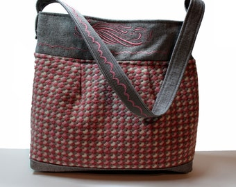 Handbag-  'Camelot in Wool'    Eco-Friendly purse made with recycled wool and gray denim.