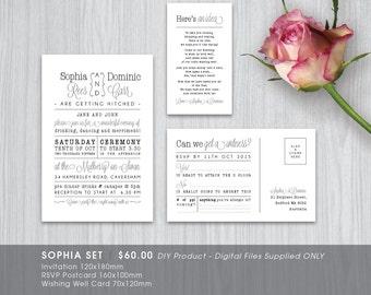 Modern Typo Rustic Printable Wedding Invitation Set - DIY Printable Digital File 'Sophia'