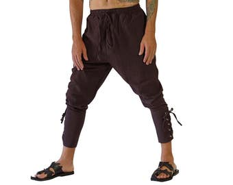 ANKLE CUFF PANTS - Zootzu Pirate Pants Renaissance Costume Medieval Steampunk Peasant Buccaneer Pants -  Brown