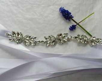 """The """"Rory"""" Tulle and Chain Wedding Dress Sash; Tulle Bridal Wedding Sash; Jeweled Bridal Belt; Unique Wedding Dress Sash; Chain Belt Sash"""