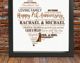Personalized 7th Anniversary gift - 7 years anniversary, 7 year wedding anniversary gift, 7th wedding anniversary gift, 7th anniversary gift