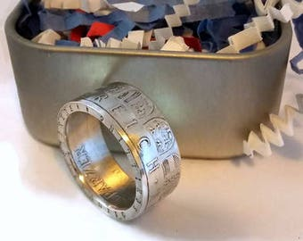 1964 Austria 25 Schilling .800 Silver Coin Ring, Austria Coin Ring, Coin Jewelry, 1964 Coin Ring,